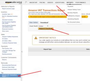 Amazon now provides VAT reports