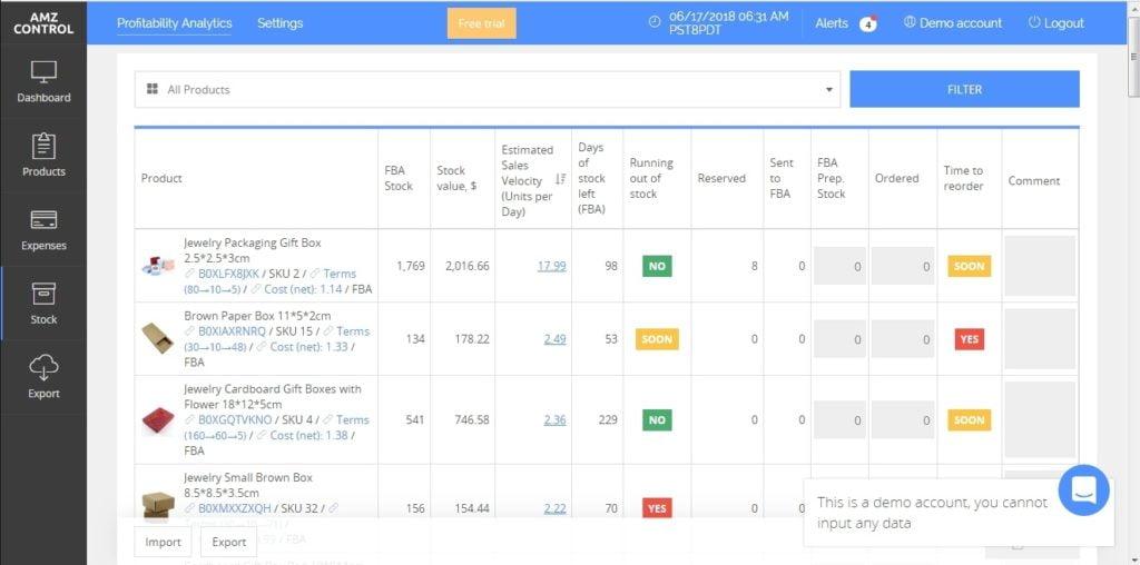 sellerboard Stocks Page
